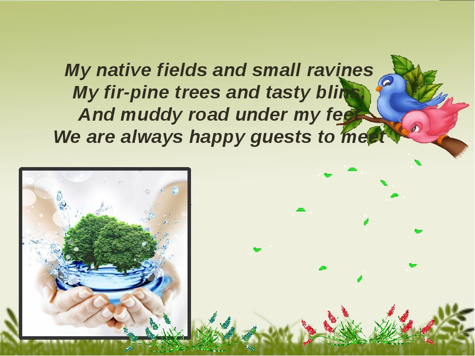 My native fields and small ravines My fir-pine trees and tasty blins, And mu...