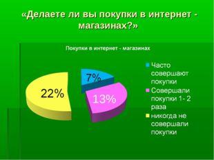 «Делаете ли вы покупки в интернет - магазинах?» 13%