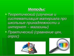 Методы: Теоретический (изучение и систематизация материала про школьные прина