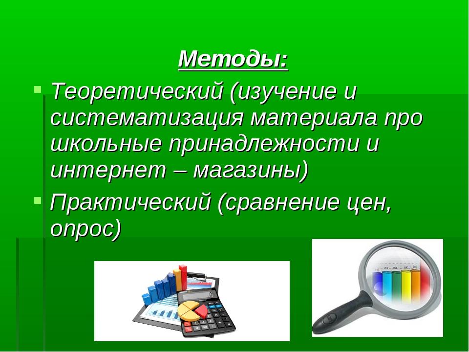 Методы: Теоретический (изучение и систематизация материала про школьные прина...