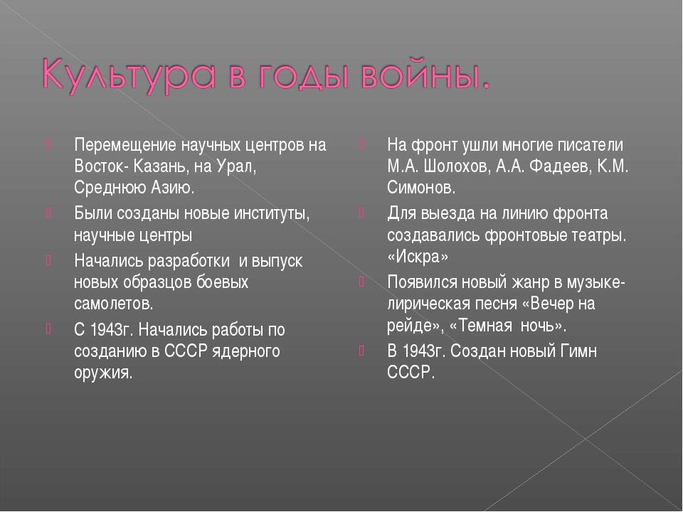 Перемещение научных центров на Восток- Казань, на Урал, Среднюю Азию. Были со...