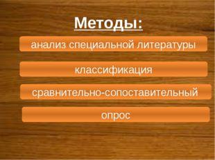 Методы: анализ специальной литературы классификация сравнительно-сопоставител