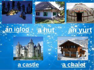 an igloo a hut an yurt a castle a chalet