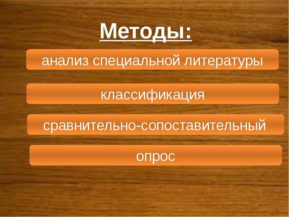 Методы: анализ специальной литературы классификация сравнительно-сопоставител...