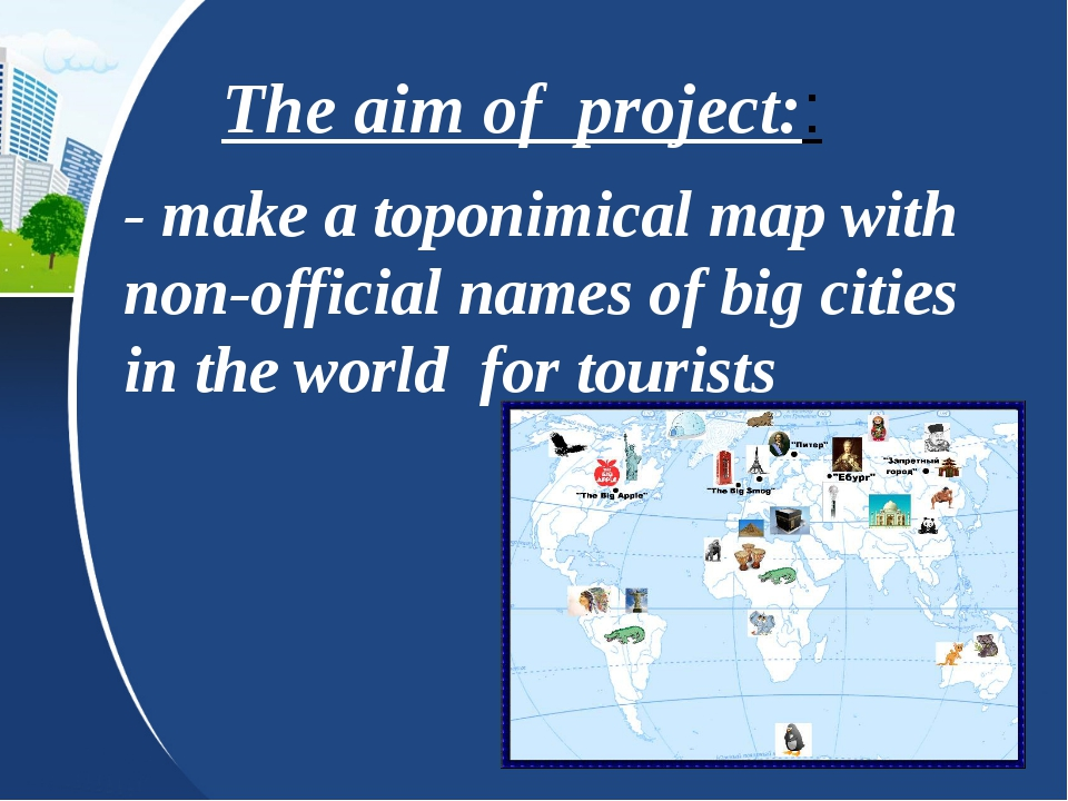 The aim of project:: - make a toponimical map with non-official names of big...