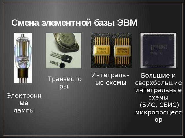 Смена элементной базы ЭВМ Транзисторы Интегральные схемы Электронные лампы Бо...
