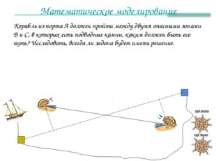 Математическое моделирование Корабль из порта А должен пройти между двумя опа