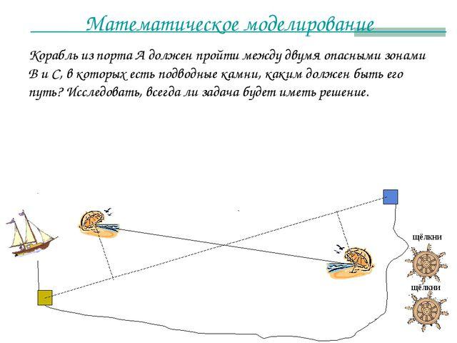 Математическое моделирование Корабль из порта А должен пройти между двумя опа...