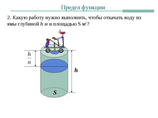 Предел функции 2. Какую работу нужно выполнить, чтобы откачать воду из ямы гл...