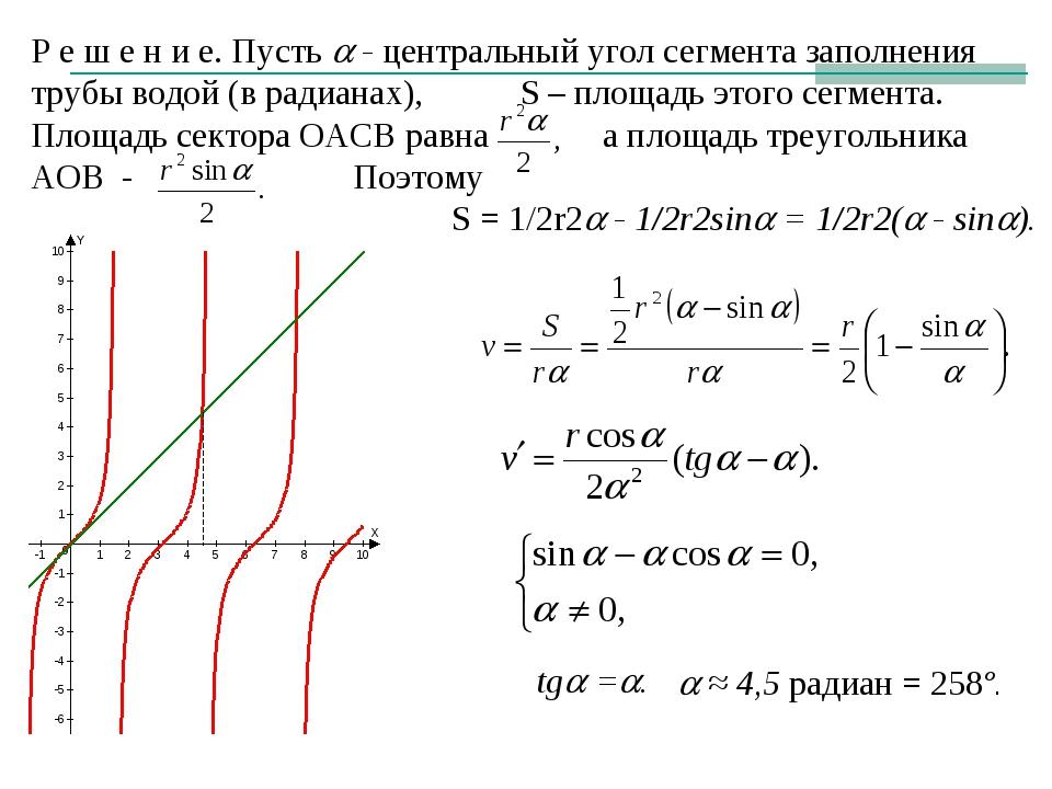Р е ш е н и е. Пусть  - центральный угол сегмента заполнения трубы водой (в...