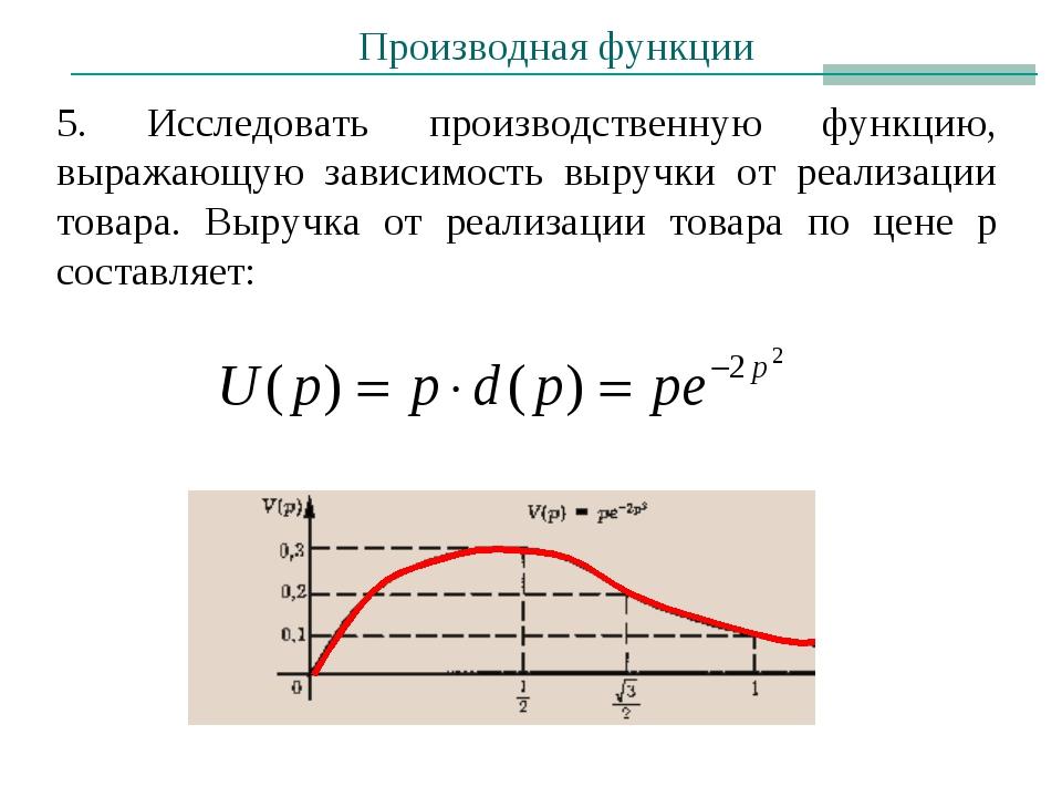 5. Исследовать производственную функцию, выражающую зависимость выручки от ре...