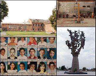 Сверху слева по часовой стрелке: Полуразрушенное здание школы №1 в 2008 годуправославный крест в спортзале в память о погибших«Древо скорби» на мемориальном кладбище Бесланафотографии погибших заложников.