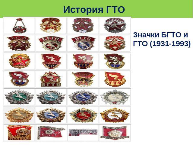 История ГТО Значки БГТО и ГТО (1931-1993)