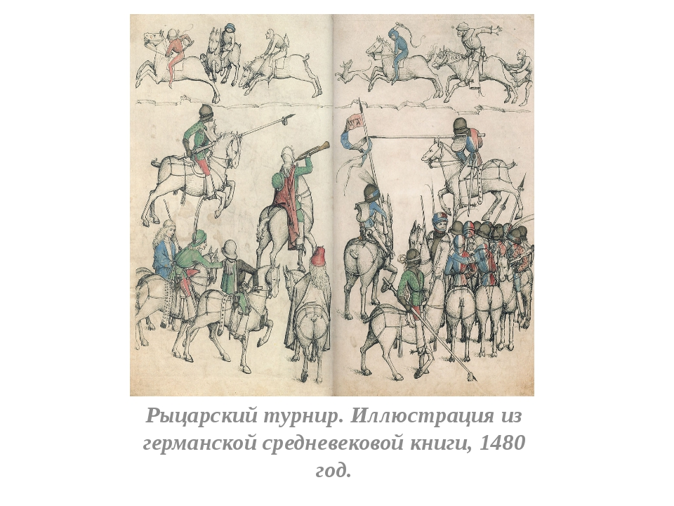 Рыцарский турнир. Иллюстрация из германской средневековой книги, 1480 год.