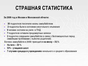 СТРАШНАЯ СТАТИСТИКА За 2008 год в Москве и Московской области: 30 подростков