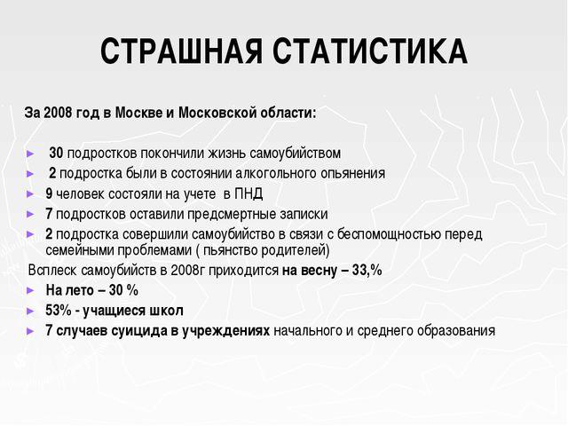 СТРАШНАЯ СТАТИСТИКА За 2008 год в Москве и Московской области: 30 подростков...