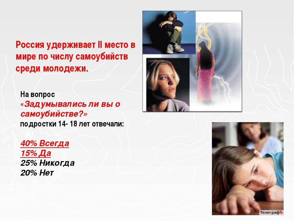 Россия удерживает II место в мире по числу самоубийств среди молодежи. На воп...