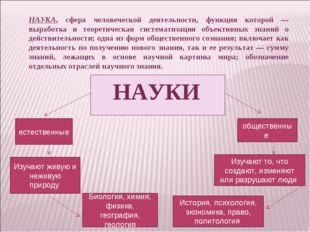 НАУКА, сфера человеческой деятельности, функция которой — выработка и теорети