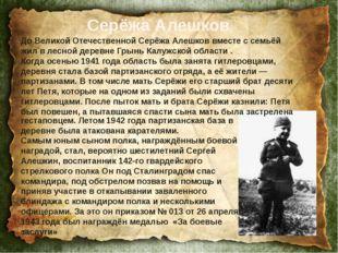До Великой Отечественной Серёжа Алешков вместе с семьёй жил в лесной деревне
