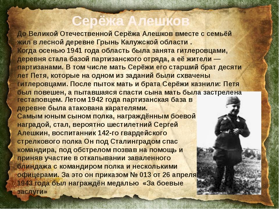 До Великой Отечественной Серёжа Алешков вместе с семьёй жил в лесной деревне...