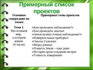 Примерный список проектов Основное содержание по темамПримерные темы проекто