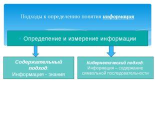 Определение и измерение информации Подходы к определению понятия информация С