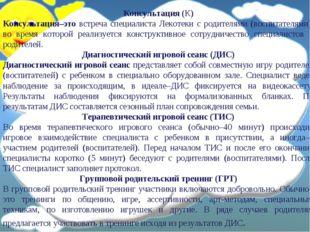 Консультация (К) Консультация–это встреча специалиста Лекотеки с родителями (