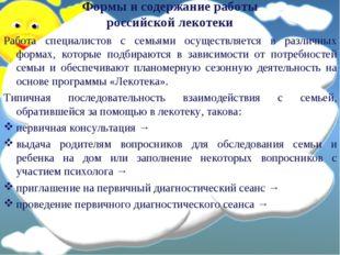 Формы и содержание работы российской лекотеки Работа специалистов с семьями о