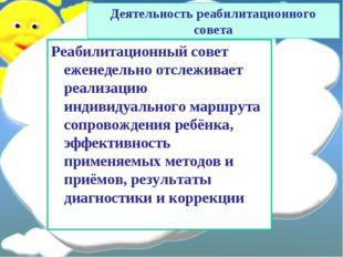 Реабилитационный совет еженедельно отслеживает реализацию индивидуального мар