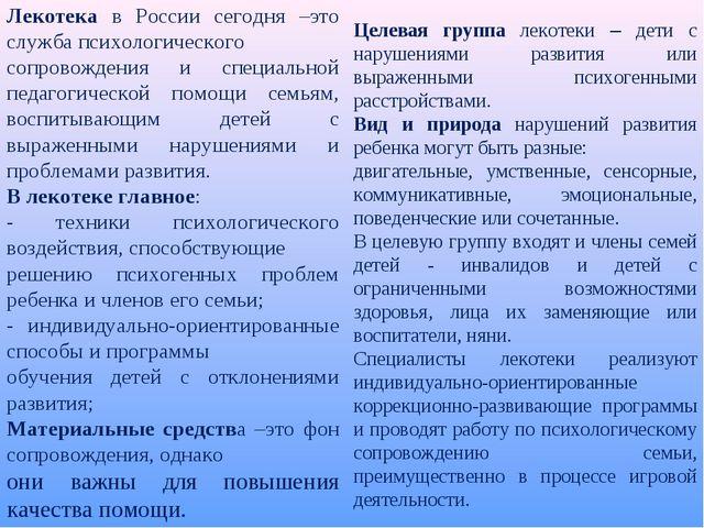 Лекотека в России сегодня –это служба психологического сопровождения и специа...
