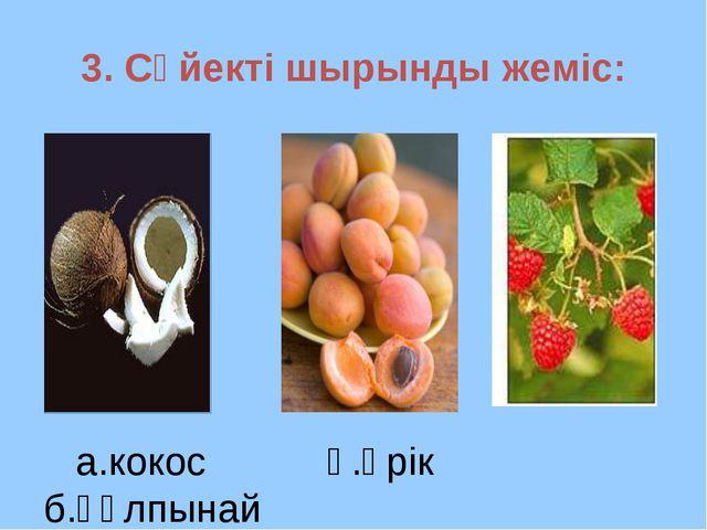 3. Сүйекті шырынды жеміс: а.кокос ә.өрік б.құлпынай