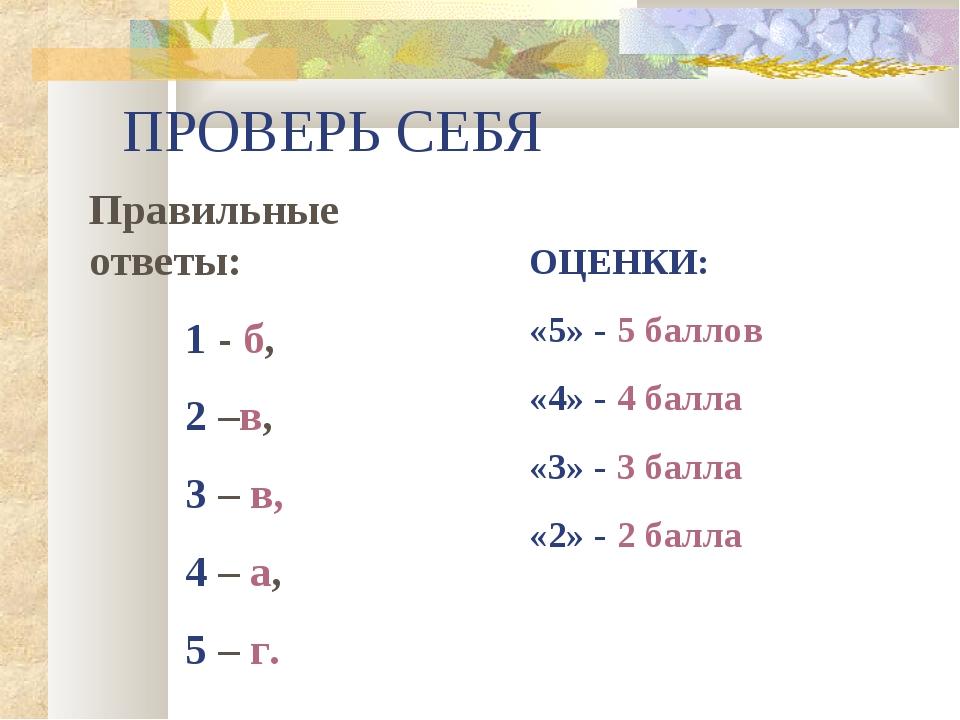 ПРОВЕРЬ СЕБЯ Правильные ответы: 1 - б, 2 –в, 3 – в, 4 – а, 5 – г.  ОЦЕН...