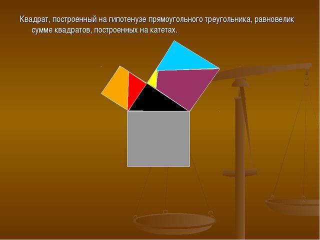 Квадрат, построенный на гипотенузе прямоугольного треугольника, равновелик су...