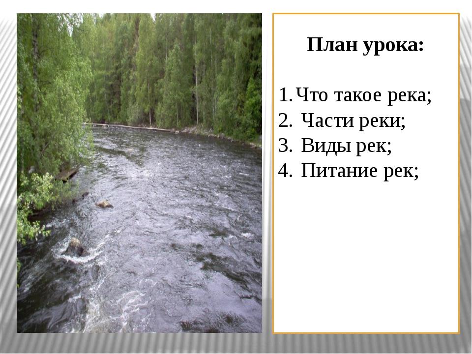 План урока: Что такое река; Части реки; Виды рек; Питание рек;