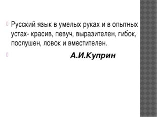 Русский язык в умелых руках и в опытных устах- красив, певуч, выразителен, ги