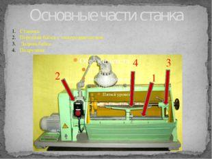 Основные части станка Станина. Передняя бабка с электродвигателем. Задняя баб