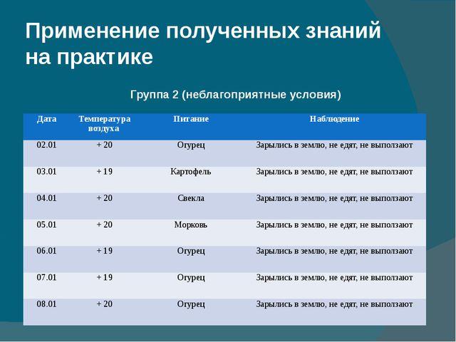 Применение полученных знаний на практике Группа 2 (неблагоприятные условия) Д...