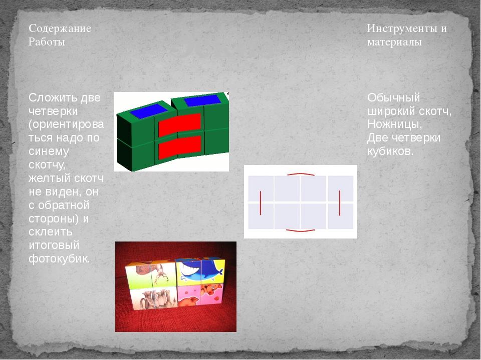 Содержание Работы Эскиз Инструменты и материалы Сложить две четверки (ориенти...