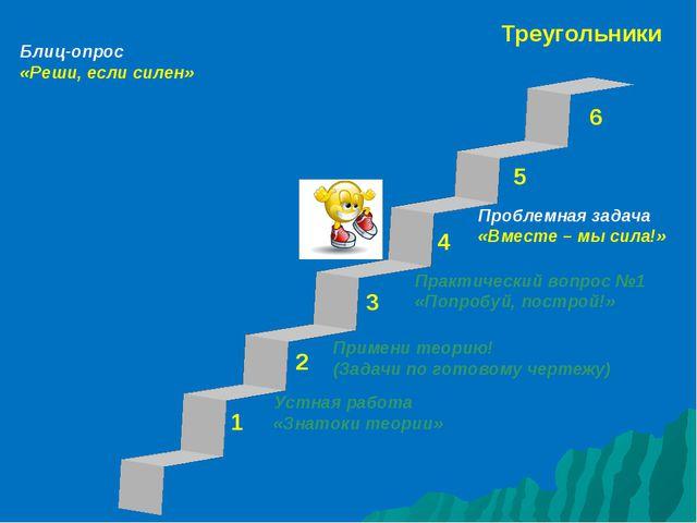 Треугольники 1 3 2 4 5 6 Устная работа «Знатоки теории» Проблемная задача «Вм...