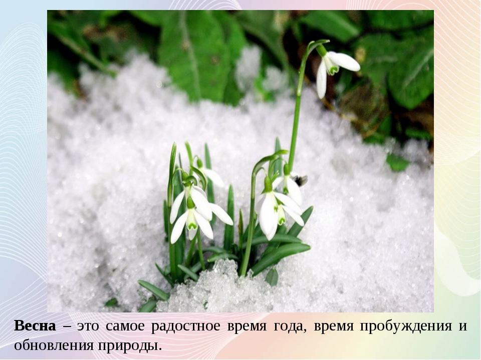Весна – это самое радостное время года, время пробуждения и обновления природы.