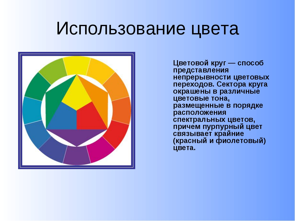 Использование цвета Цветовой круг — способ представления непрерывности цвето...