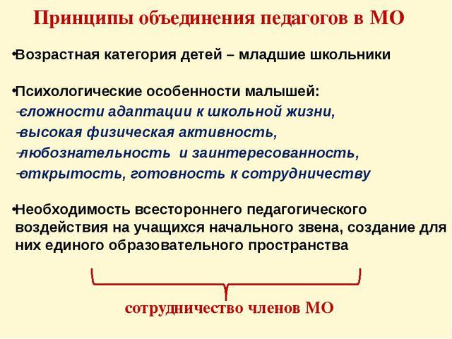 Принципы объединения педагогов в МО Возрастная категория детей – младшие школ...