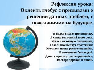 Рефлексия урока: Оклеить глобус с призывами о решении данных проблем, с поже