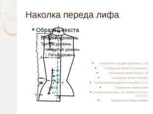 Наколка переда лифа Скалываем середину детали(1,2,3,4) Скалываем линию горлов