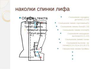 наколки спинки лифа Скалываем середину детали(1,2,3,4) Скалываем линию горлов