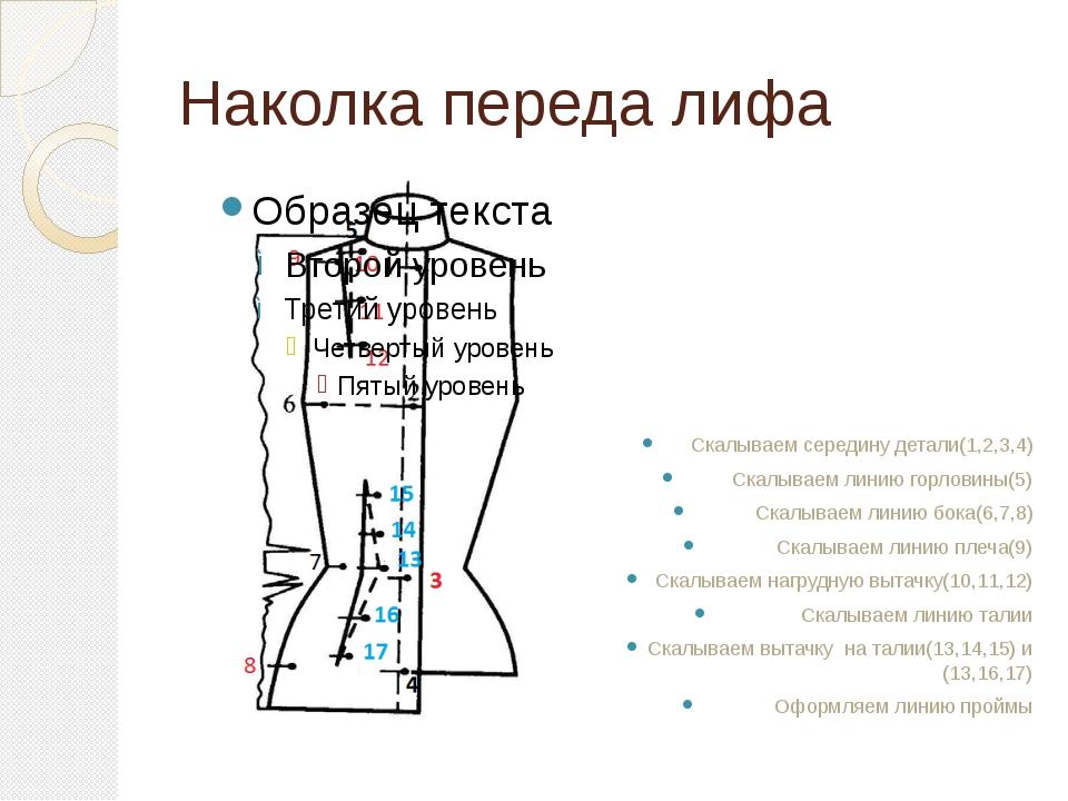 Наколка переда лифа Скалываем середину детали(1,2,3,4) Скалываем линию горлов...