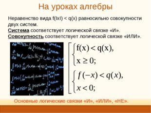 На уроках алгебры Неравенство вида f(IxI) < q(x) равносильно совокупности дву