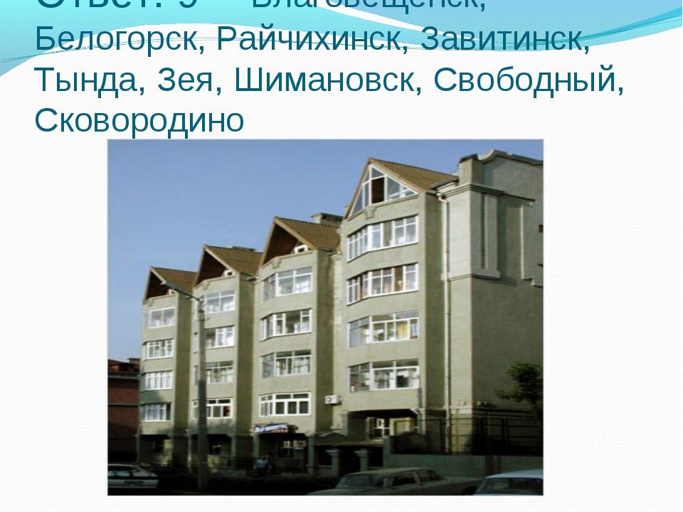 Ответ: 9 - Благовещенск, Белогорск, Райчихинск, Завитинск, Тында, Зея, Шимано...