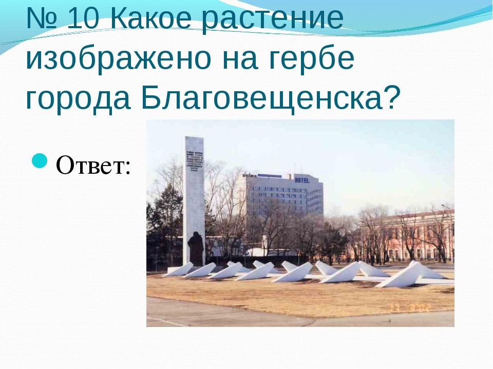 № 10 Какое растение изображено на гербе города Благовещенска? Ответ: