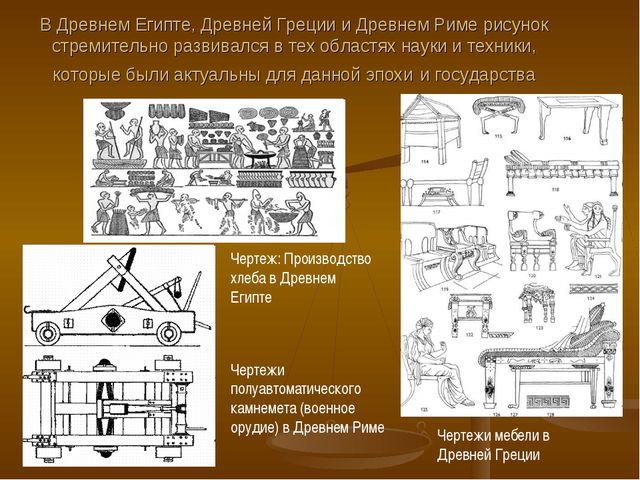 В Древнем Египте, Древней Греции и Древнем Риме рисунок стремительно развивал...